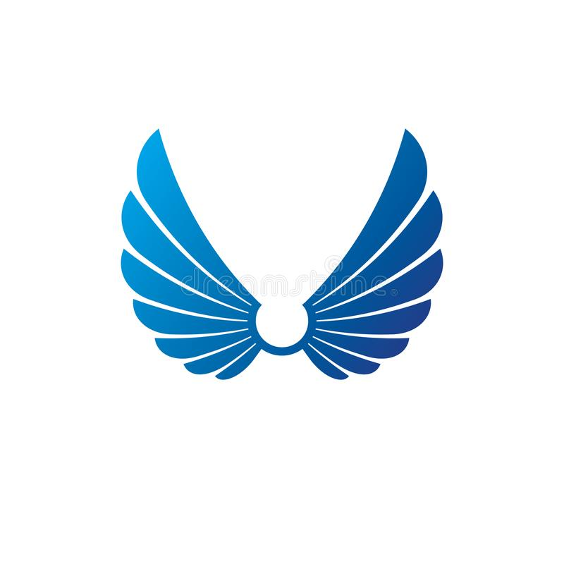 Forntida symboliskt vingemblem Heraldisk vektordesignbest?ndsdel vektor illustrationer