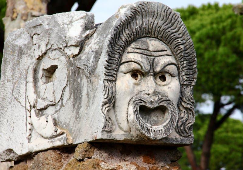 Forntida teatermaskering royaltyfria foton