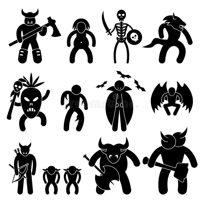 forntida teckenondskakrigare vektor illustrationer