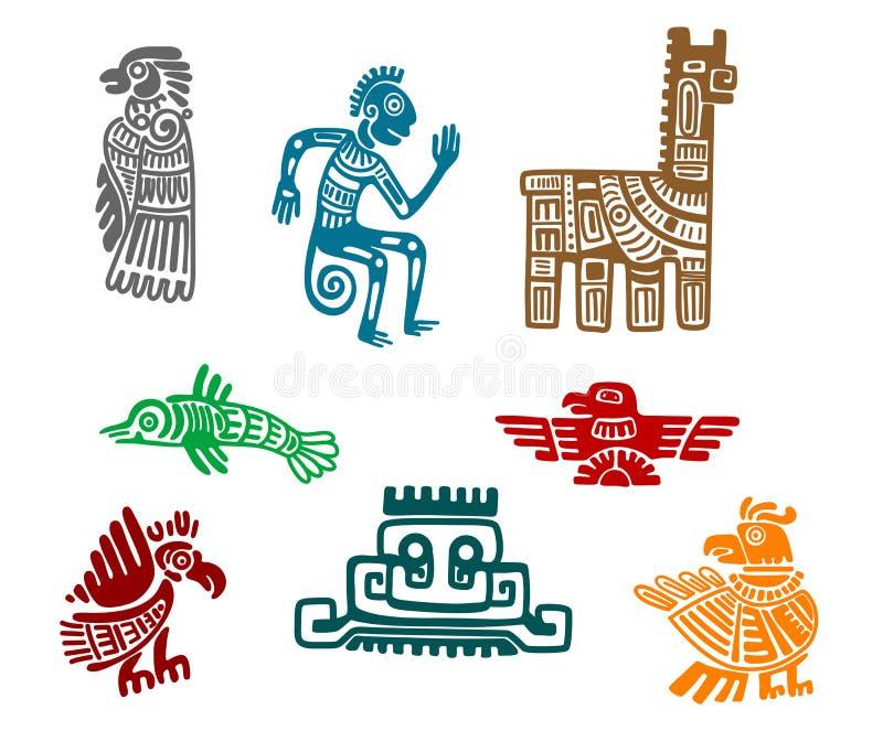 Forntida teckningskonst för Aztec och för maya royaltyfri illustrationer