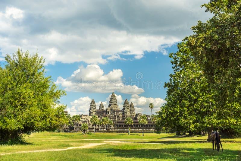 Forntida tempel Angkor Wat på en solig dag arkivbilder