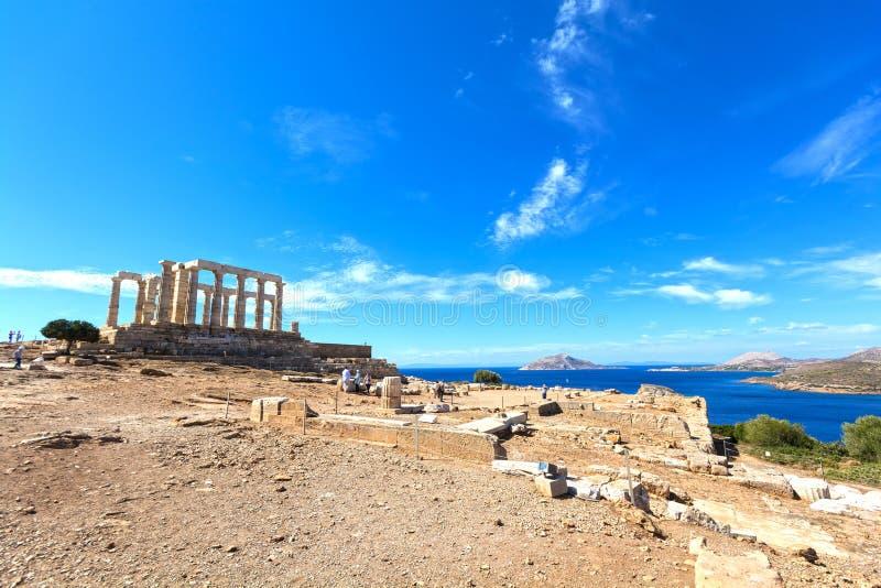 Forntida tempel av Poseidon arkivfoto