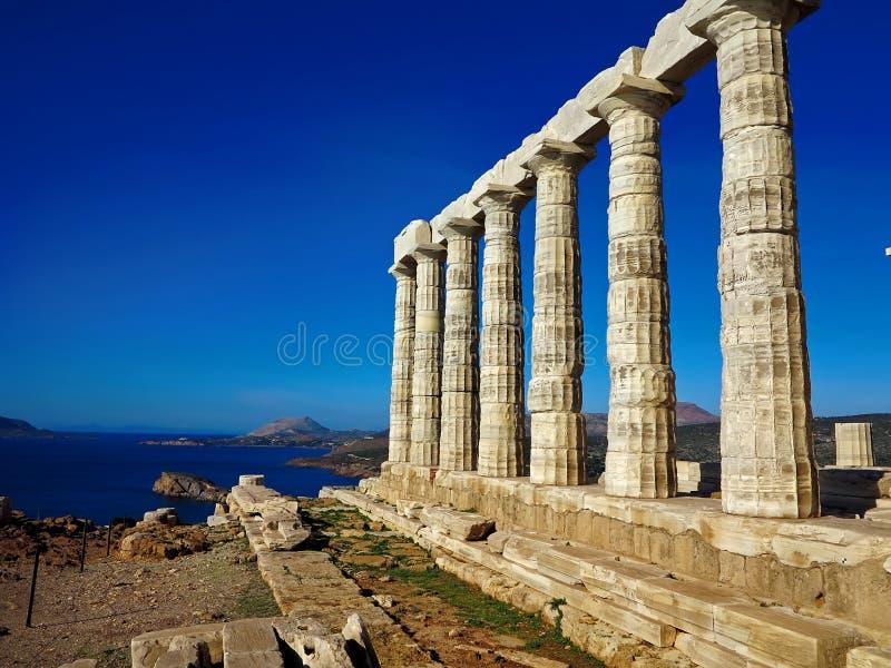 Forntida tempel av Poseidon i capoen Sunio i Attica Greece arkivbild