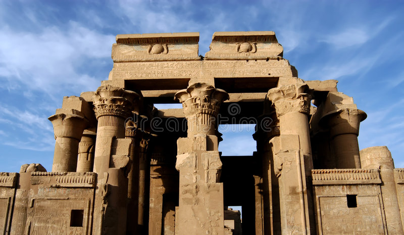 forntida tempel för sobek för komombopharaoh arkivbilder