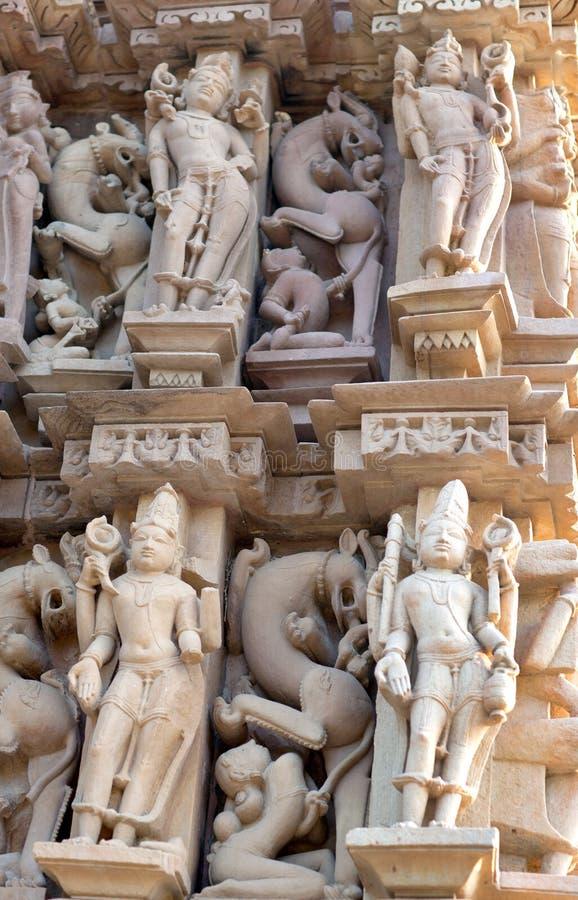 Forntida tempel i Khajuraho, Indien royaltyfri foto