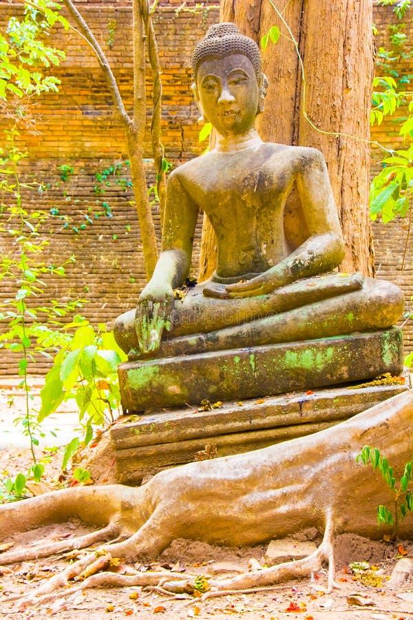 Forntida thailändsk Buddhastaty av den Wat Umong templet i Chiang Mai, Thailand arkivfoton