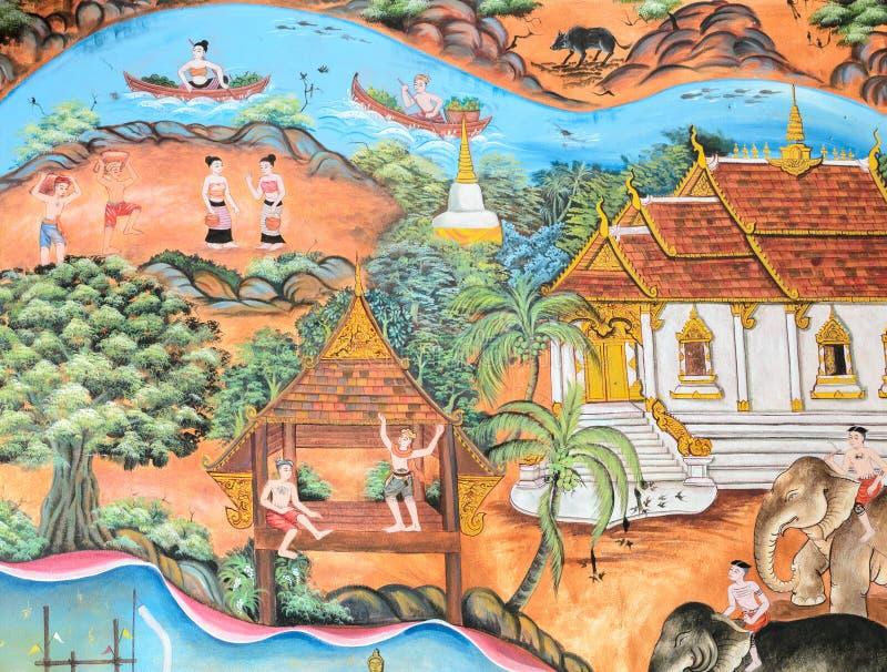 Forntida thailändsk konst för vägg- målning arkivfoton
