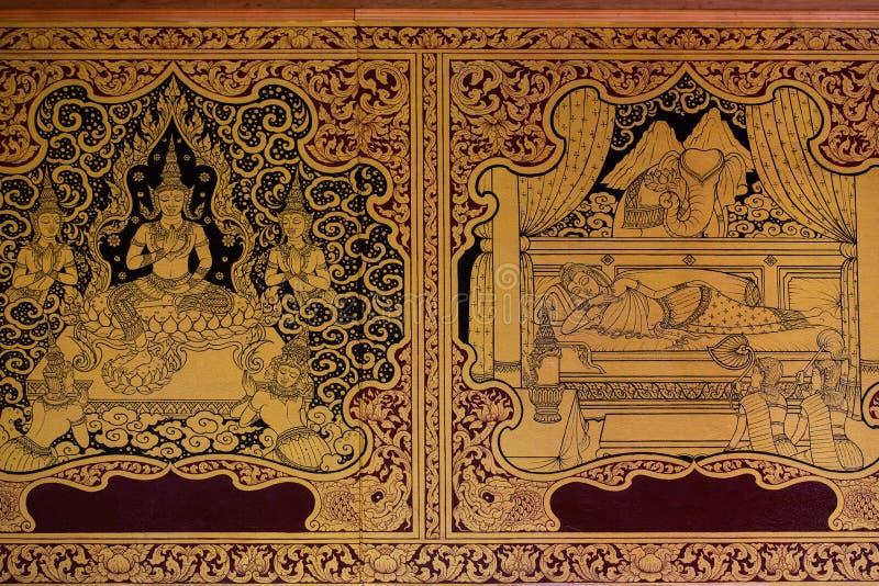 Forntida thailändsk modell på väggen i Thailand Buddhatempel, asiatisk Buddhastilkonst, härlig modell på tempelväggen royaltyfria foton