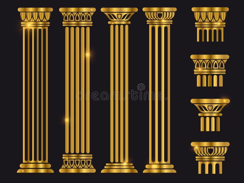 Forntida uppsättning för vektor för rome arkitekturkolonn vektor illustrationer