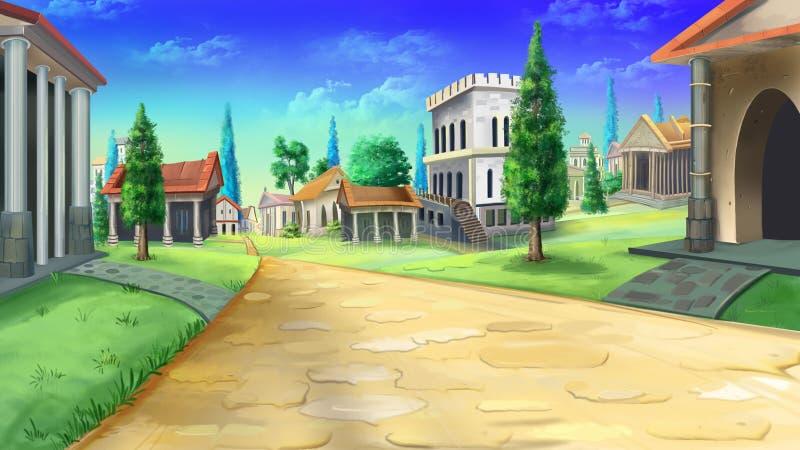 Forntida väg i Rome stock illustrationer