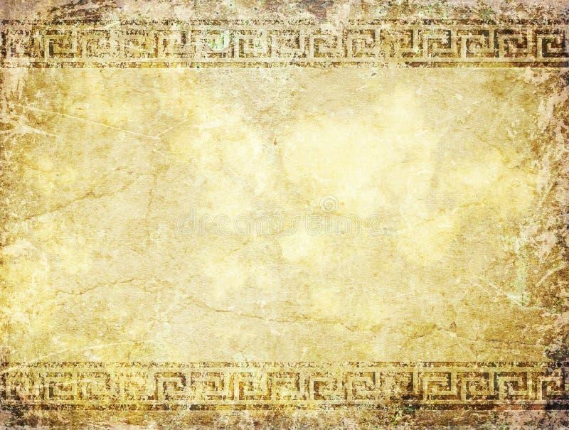 Forntida vägg med slingringar stock illustrationer