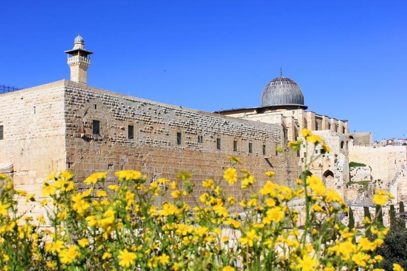 Forntida väggar av den stora Jerusalem, Israel arkivfoto
