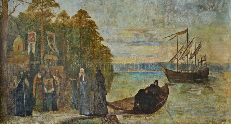 Forntida väggmålning Konevets ö, Ladoga sjö, Ryssland royaltyfri foto
