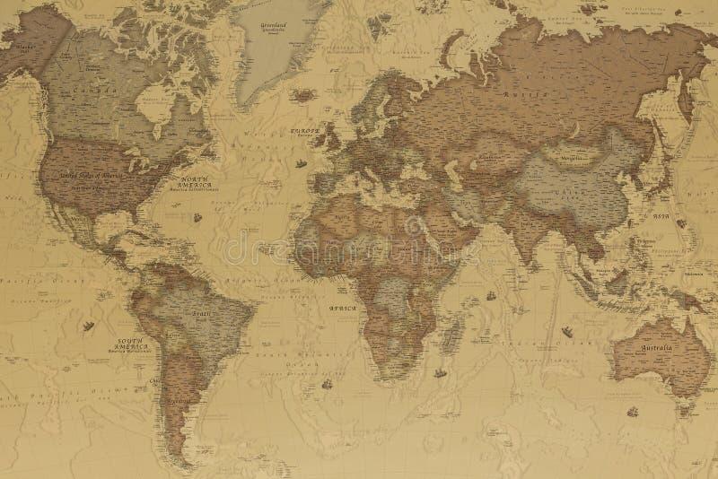 Forntida världskarta royaltyfri illustrationer