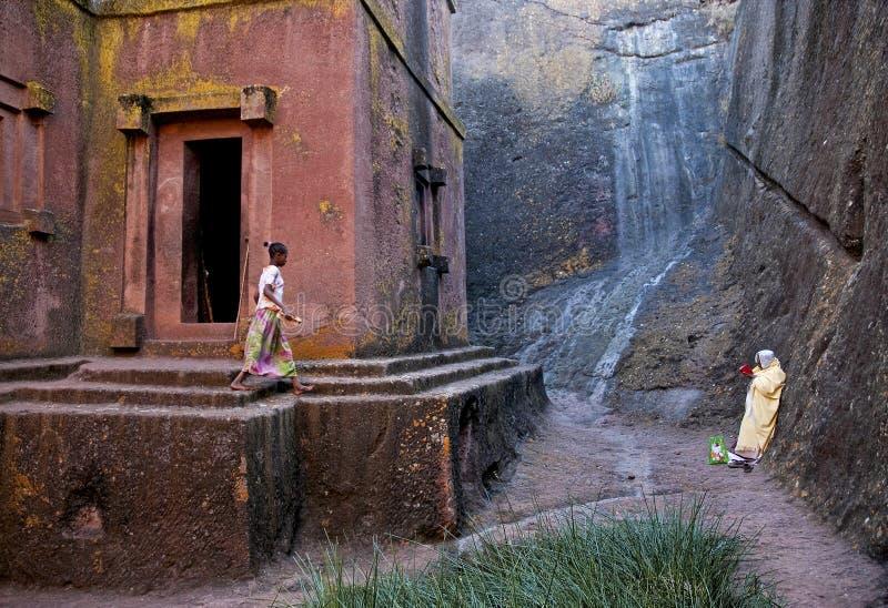 Forntida vagga hewn kyrkor av lalibelaen ethiopia royaltyfria bilder