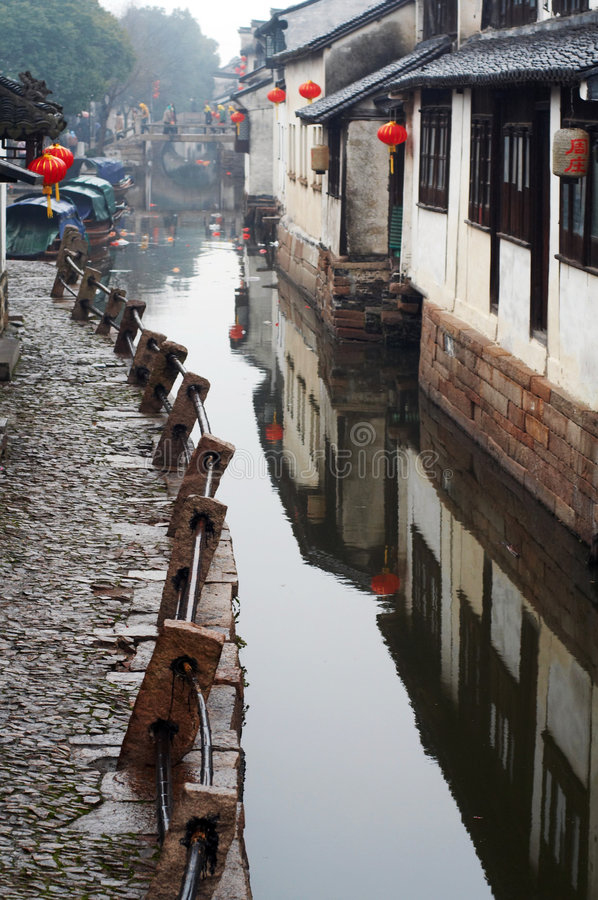 forntida zhouzhuang för vatten för porslinturismtown royaltyfri foto