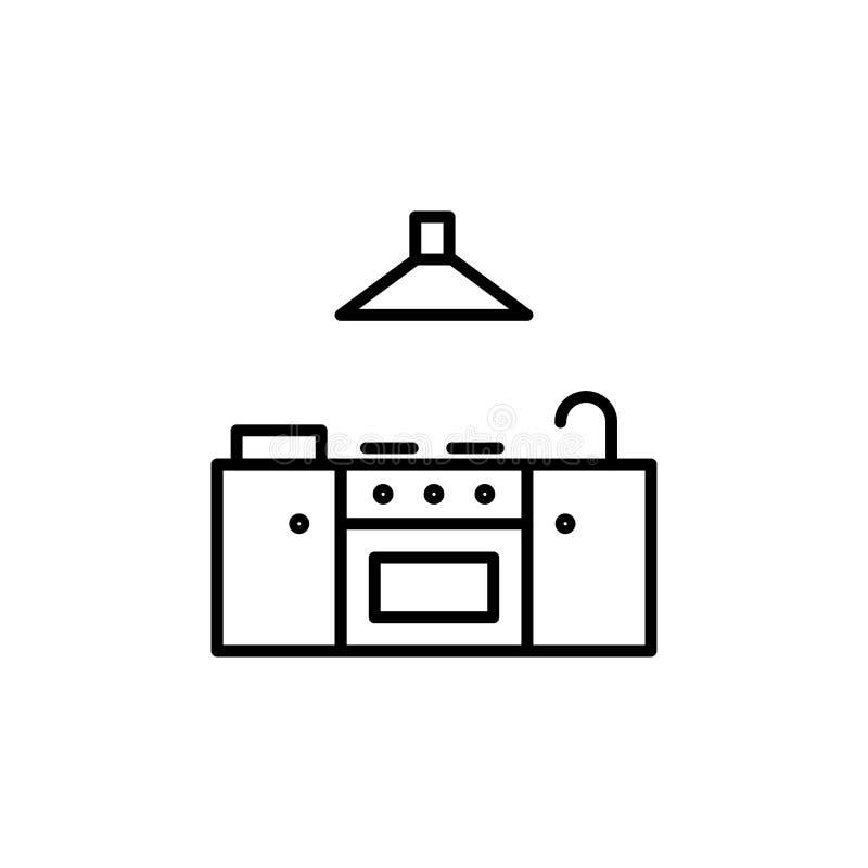 Fornuispictogram met watertapkraan en trekkerventilator Keukentoestellen voor het koken van Illustratie Het eenvoudige dunne symb vector illustratie