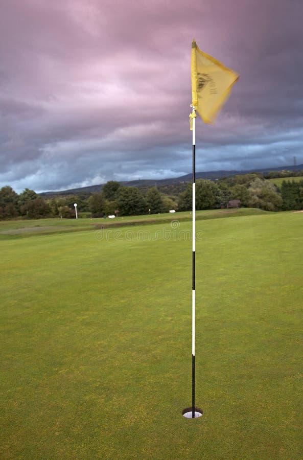 Foro con Flagstick su un terreno da golf fotografia stock libera da diritti