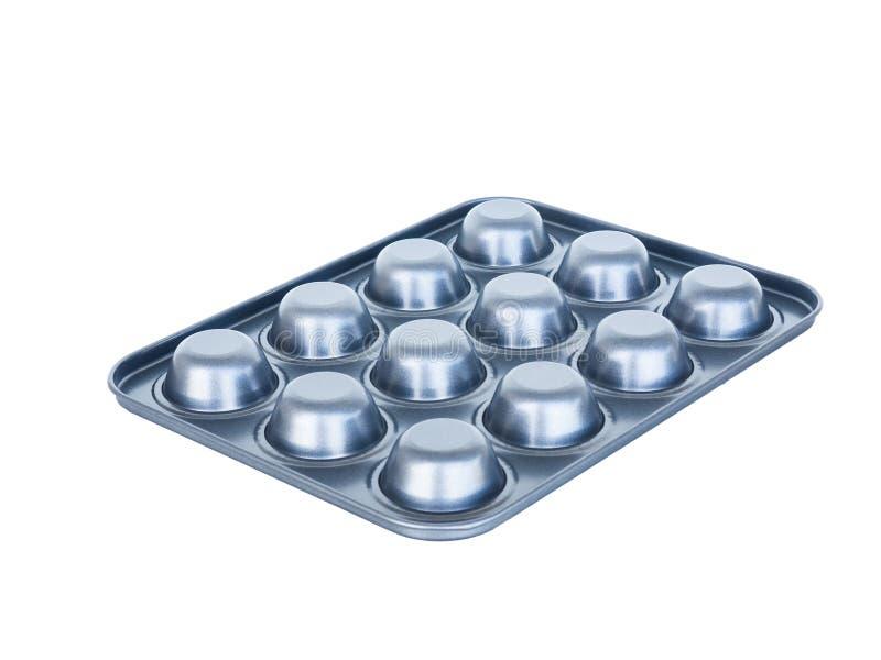 Foro del vassoio dei muffin di cottura dodicesimo rivestimento antiaderante Isolato su wh fotografia stock libera da diritti