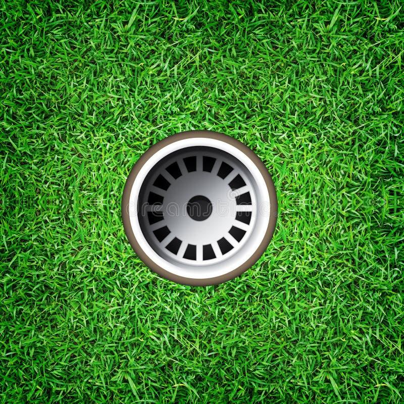 Foro di golf su erba verde del campo da golf immagine stock libera da diritti