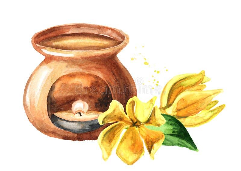 Foro giallo-ylang e lampada a aroma Cananga odroata Disegno di disegno a mano di colore d'acqua isolato sullo sfondo bianco illustrazione vettoriale