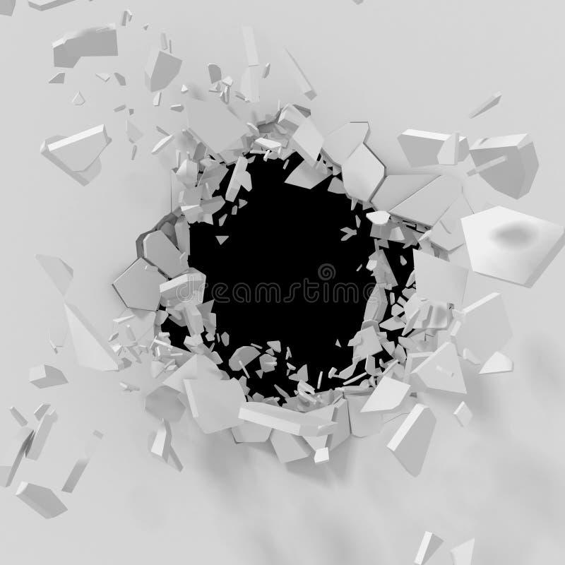 Foro incrinato di esplosione con i frammenti in parete bianca royalty illustrazione gratis