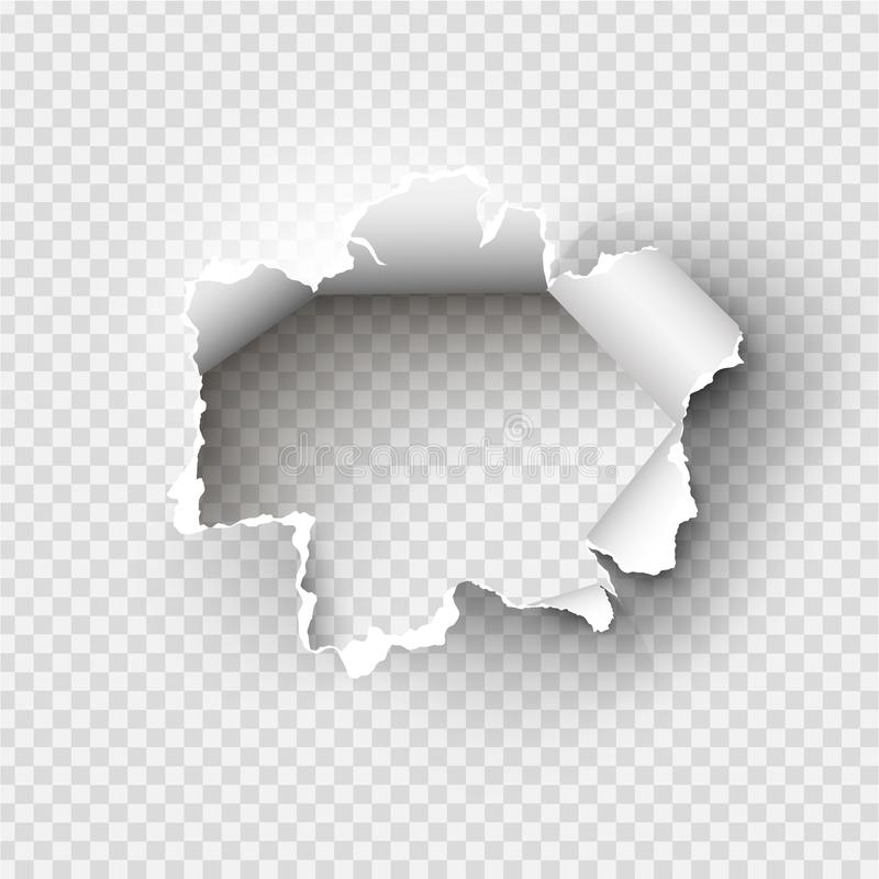 Foro lacerato in carta strappata su trasparente illustrazione vettoriale