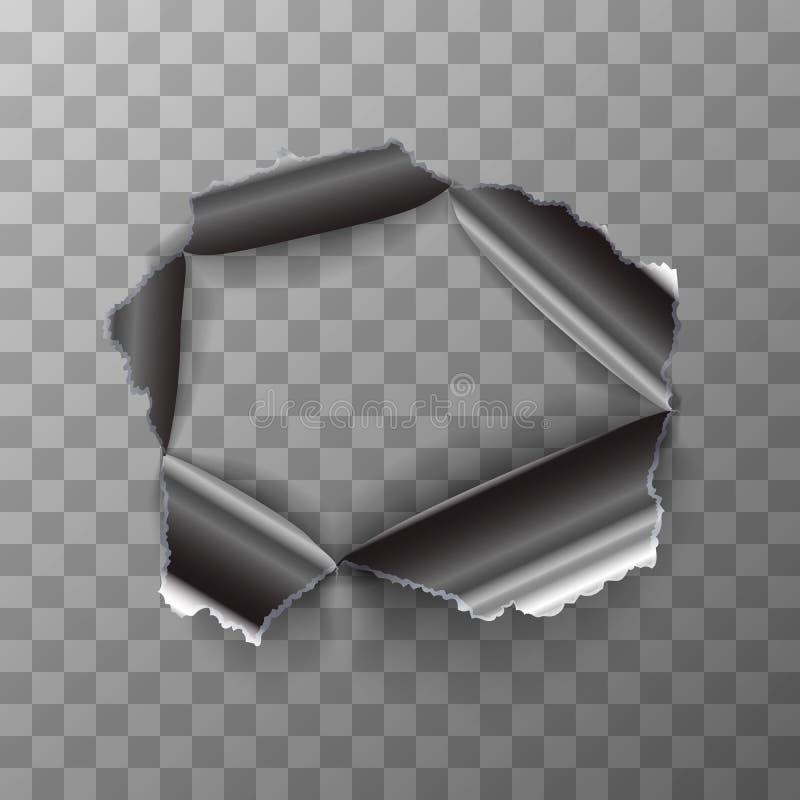 Foro lacerato in di piastra metallica lucido su fondo trasparente illustrazione di stock