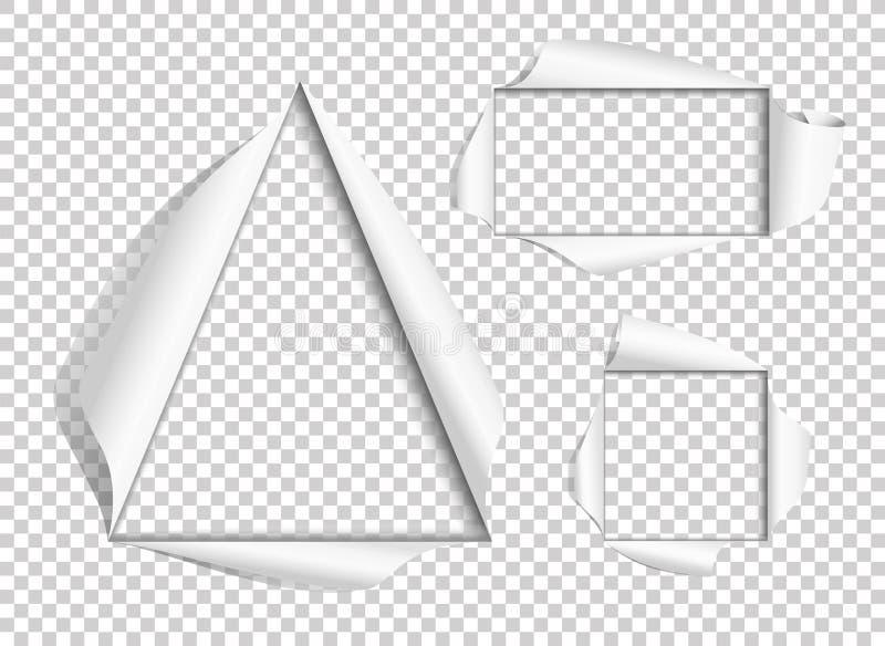 Foro nel documento Insieme dei telai tagliati Vettore illustrazione vettoriale