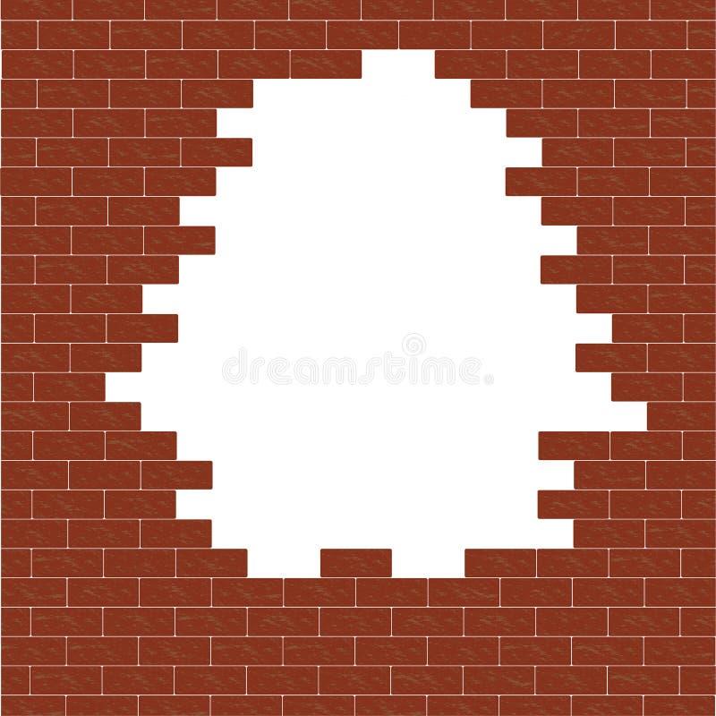 Foro nel muro di mattoni Muro di mattoni rotto royalty illustrazione gratis