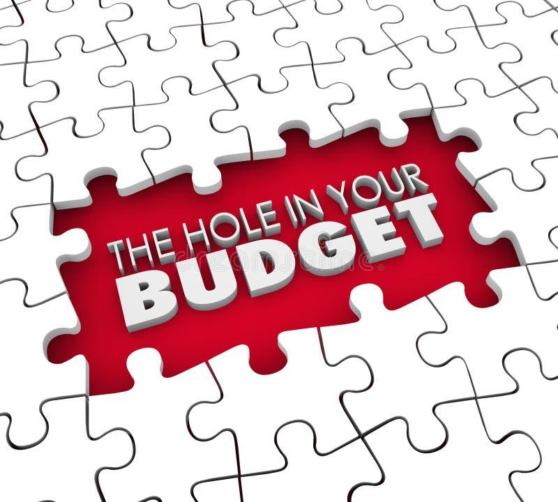 Foro nel vostro puzzle finanziario di fallimento di debito di deficit del bilancio illustrazione di stock