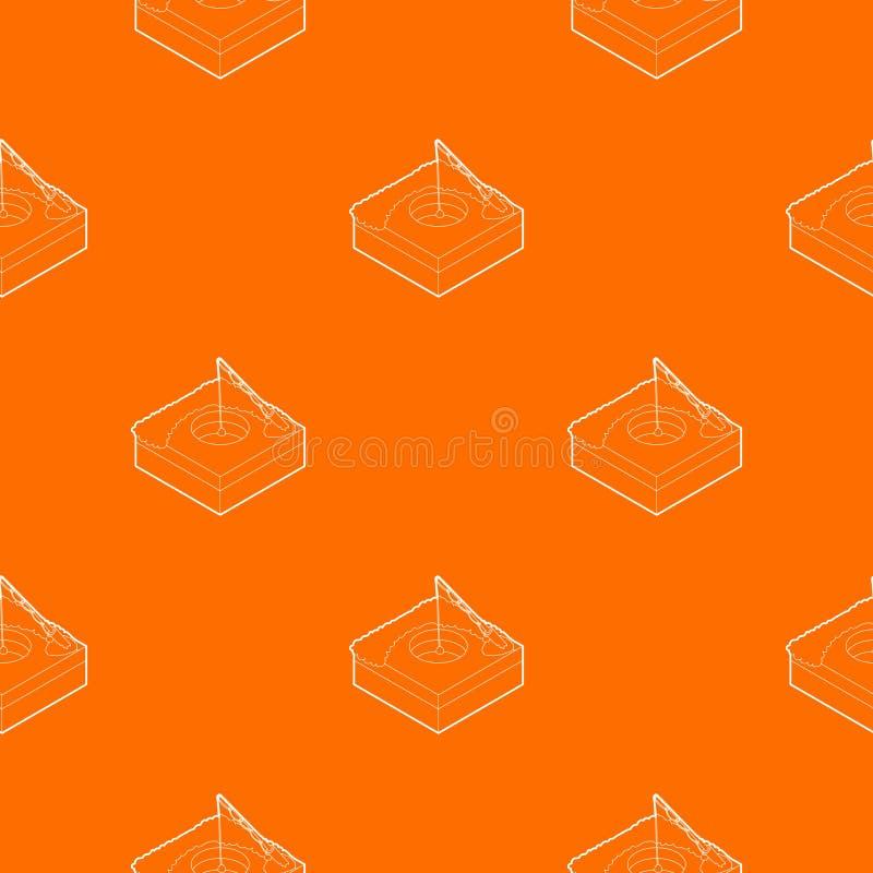 Foro per l'arancia di vettore del modello della pesca sul ghiaccio royalty illustrazione gratis