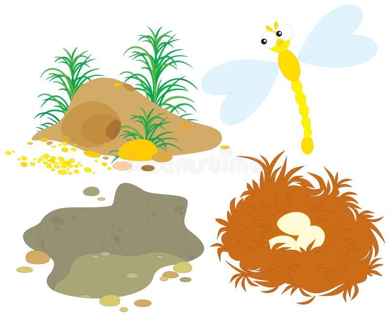 Foro, pozzo, nido e libellula royalty illustrazione gratis
