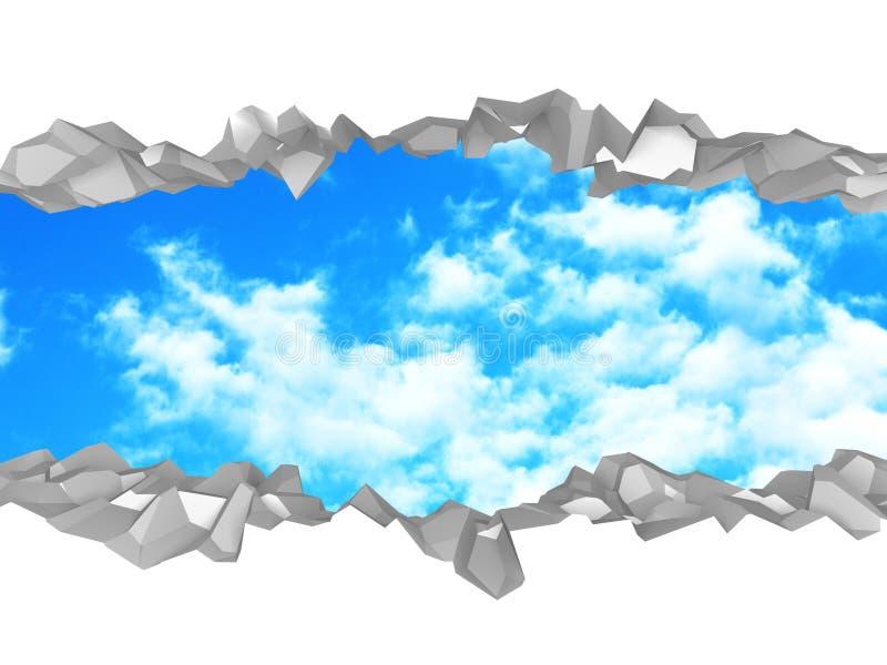 Foro rotto di ?racked in parete bianca al cielo nuvoloso illustrazione vettoriale