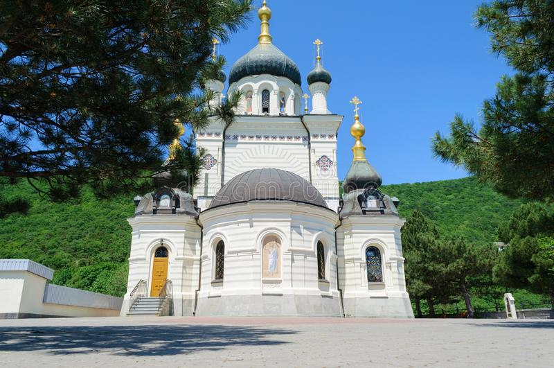 Foros Church in Crimea Ukraine on a summer day. Bottom view royalty free stock photos