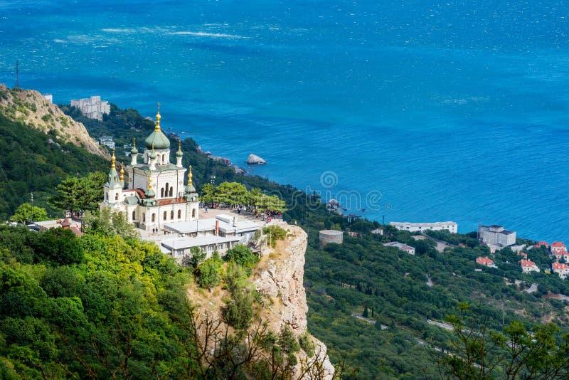 Foros church near Baydar Pass. Popular scenic Church of Christ Resurrection on Red Cliff above Black Sea coastline near Foros, Crimea stock photo