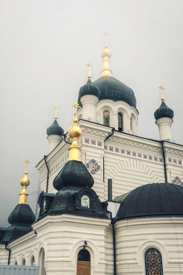 Foros Orthodoxe Kerk in de Krim in de mist stock fotografie