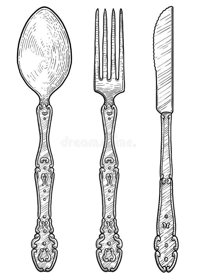 Forquilha antiga ornamentado, colher, ilustração da faca de manteiga, desenho, gravura, tinta, linha arte, vetor ilustração do vetor