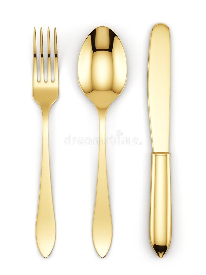 Forquilha, colher e faca douradas ilustração stock
