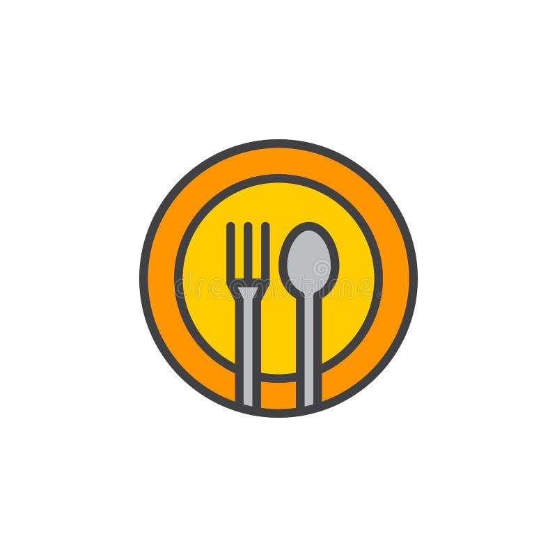 A forquilha, colher, linha ícone do prato, encheu o sinal do vetor do esboço, pictograma colorido linear isolado no branco ilustração stock