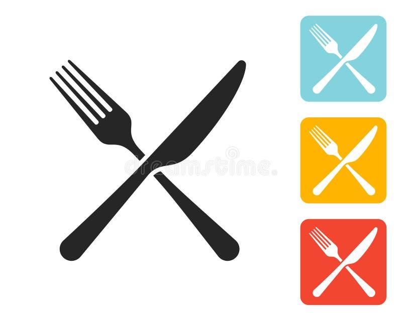Forquilha do ícone e sinal da faca ilustração royalty free