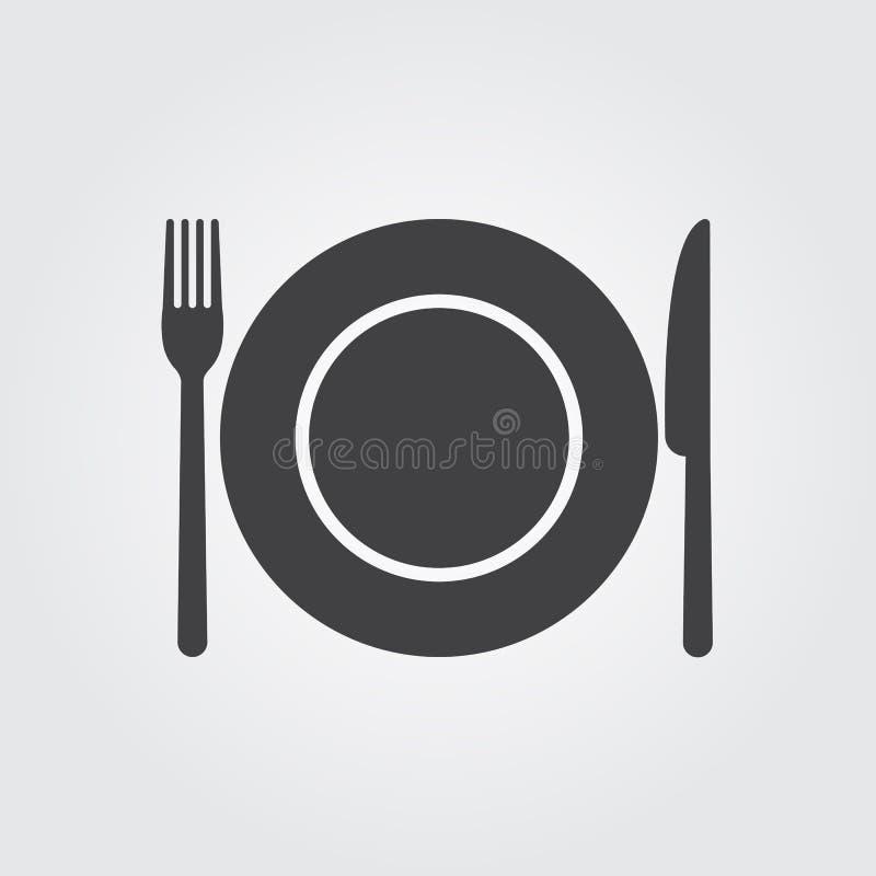 Forquilha do prato e faca - ícone do vetor ilustração royalty free