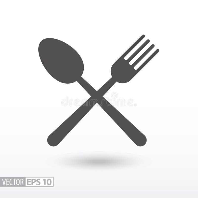 Forquilha e colher - ícone liso Alimento do sinal ilustração do vetor
