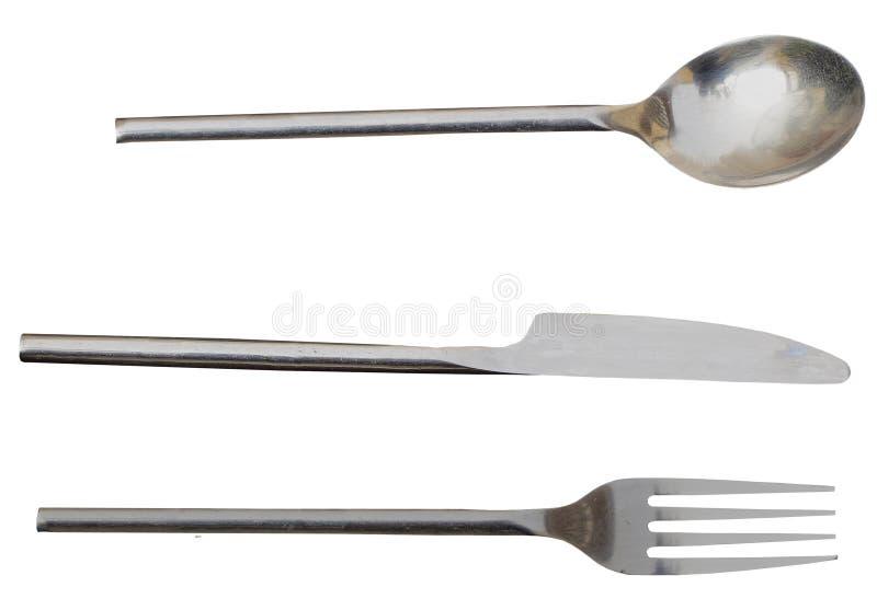 Forquilha e colher da faca da cutelaria Tudo isolado separadamente com o arquivo do png incluído imagem de stock