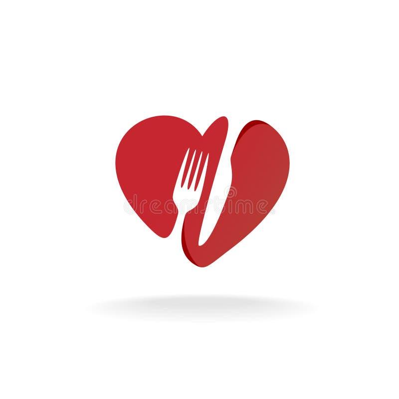 A forquilha e a faca com coração dão forma ao logotipo bonito do alimento ilustração royalty free