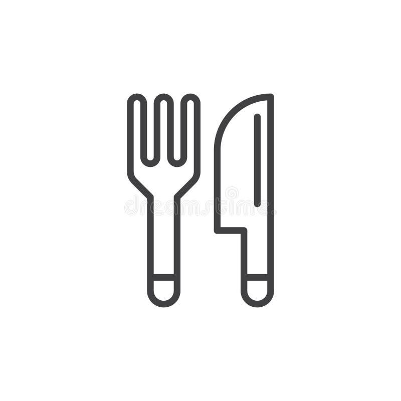 Forquilha e faca, linha ícone da cutelaria, sinal do vetor do esboço, pictograma linear do estilo isolado no branco ilustração do vetor