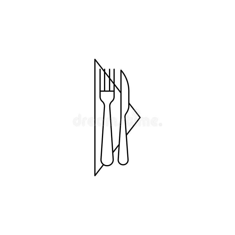 Forquilha, faca, ícone do guardanapo Pode ser usado para a Web, logotipo, app móvel, UI, UX ilustração stock