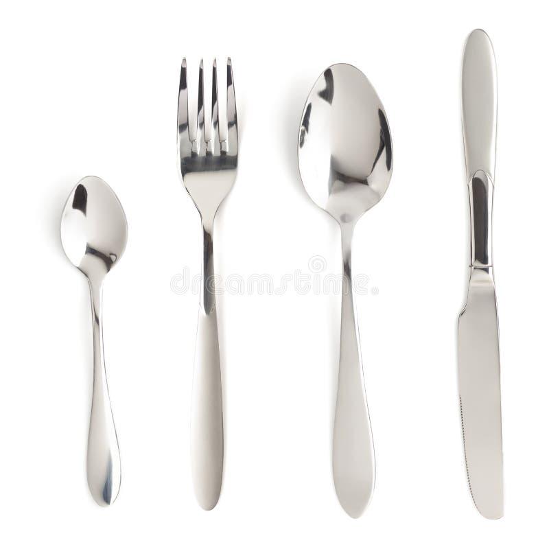 Forquilha, faca e colher isoladas no branco foto de stock
