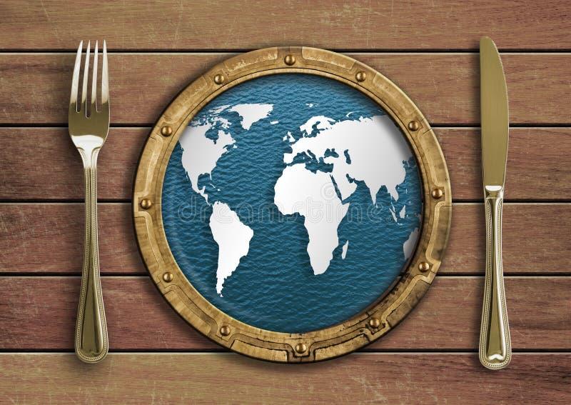 Forquilha, faca e vigia com conceito do mapa de mundo ilustração royalty free
