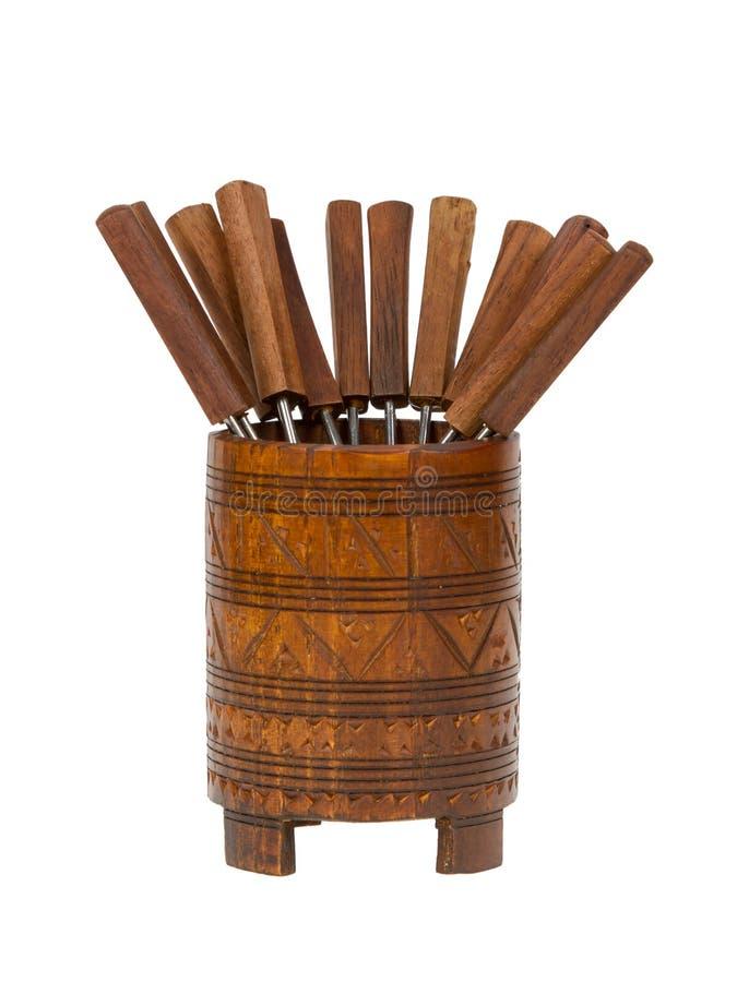 Forquilhas surinameses velhas do fondue, isoladas imagens de stock